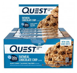 Quest Low Carb NATURAL Protein Bar 60g (Box of 12) Best Before 18.12.2019:  Oatmeal Chocolate Chip